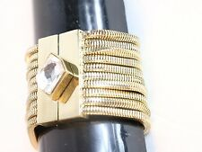 Bebe bracelet gold magnetic closure diamond crystal multi chain
