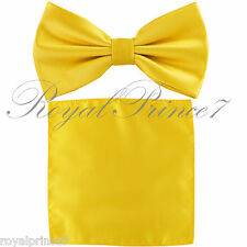 Yellow Gold Solid Butterfly Pretied Bow tie & Pocket Square Hanky Wedding BT100J