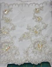 "2Y Antique Lace-9.5""W by EMIL KATz Re-embroidered w/Sequins & Pearls"