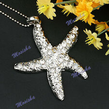 1pc Silver Plated Clear Crystal Rhinestone STARFISH Pendant For Necklace Bead