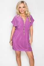 Deep-V Orchid Purple Summer Bikini Beach Dress Casual V-Neck