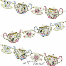 Truly Alice in Wonderland TEAPOT BUNTING -Mad Hatter's Tea Party- Teacup Garland