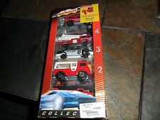 RARE MAJORETTE 5 PIECE FIRE TRUCK & POLICE LAND ROVER EXPLORATEUR IN NR MINT BOX