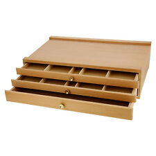 US Art Supply® 3-Drawer Artist Wood Pastel, Pen, Marker Storage Box