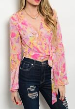 Chiffon Floral Watercolor Print Wrap Tie LongBell Sleeve Cropped Blouse Top