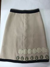 PRADA LIGHT BROWN / CREAM A-LINED FLOWER & DIAMOND STITCHED SKIRT ITALY SZ. 40