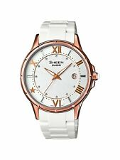 Casio Sheen Ladies White Dial Analogue & Resin Strap Watch SHE-4024G-7AEF RP£135