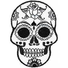 Embroidered Small Black White Sugar Skull Iron on Sew on Biker Patch Badge
