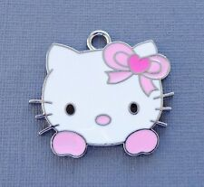 Large Hello Kitty 3 pcs Enamel Pink Pendants Charms Dangle Jewlry findings DIY