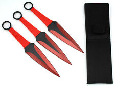 """Snake Eye Tactical RED 3 Piece Two Tone Throwing Knife Set w/ Sheath 9"""""""
