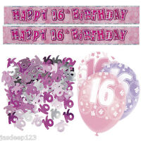 Pink 16th Birthday Banner Party Decorations Pack Kit Set Balloons Glitz Girl