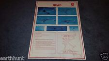 Original Poster 1983 US AIR FORCE USSR Soviet BEAR BOMBER AIRCRAFT ID CHART Rare
