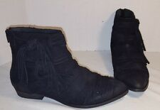 ANTHROPOLOGIE FREE PEOPLE BLACK DECADES RAW SUEDE ANKLE BOOTS US 9 EUR 39