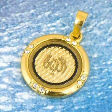 vintage yellow gold filled clear mystic topaz pendant round Arab style