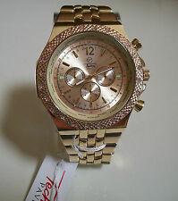 Mens big hip hop few Bling clubbing Gold finish TECHNO PAVE Rapper fashion watch