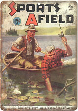 "1941 Sports Afield Magazine Fishing 10"" x 7"" reproduction metal sign"
