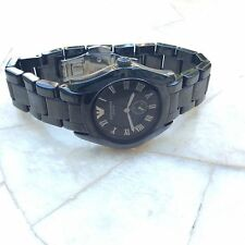 NEW EMPORIO ARMANI CERAMICA AR1402 BLACK/BLACK  35mm LADIES JAPAN QUARTZ  WATCH