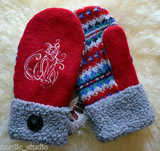 KITTY CAT 100% Wool recycled sweater MITTENS Embroidered Fleece Lined Faux Fur