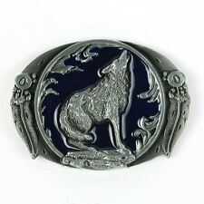 Senmi New Oval Wolf Howl Blue Belt Buckle Western Indian Leaves Vintage Animal C