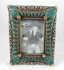 "Southwestern Turquoise Picture Frame 4""x 6"" Photo Silver Accents Rhinestones"
