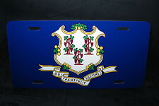 CONNECTICUT STATE FLAG METAL LICENSE PLATE TAG FOR CARS
