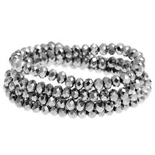 1 STRAND SILVER TONE CRYSTAL FACETED RONDELLE BEADS ~4mm~APPROX 149 BEADS  ()