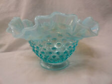 """Vintage Fenton Baby Blue Glass Opalescent Hobnail Fluted / Ruffled Edge Bowl 7"""""""
