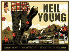 NEIL YOUNG ACOUSTIC SILKSCREEN CONCERT POSTER 2014 GIG