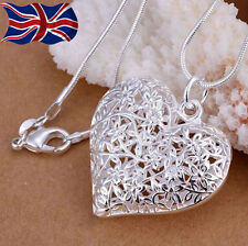 925 Sterling Silver Heart Necklace Filigree Lace Hollow Pendant Snake Chain UK