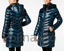 Calvin Klein Winter jacket Hooded Down Puffer Coat Pearlized Black Blue Teal NEW