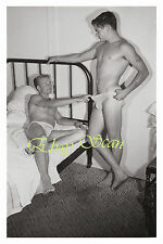 VINTAGE PHOTO NUDE MAN PULLS JOCK SOCK OF NAKED BUDDY  GAY INTEREST 137