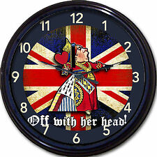 Alice in Wonderland Queen of Hearts Britain Union Jack Wall Clock London UK Brit