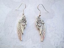 *PRETTY FEATHER WING WITH ROSE* Charm Earrings SP XMAS GIFT POUCH Angel  Roses