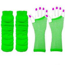 LEG WARMERS & OR FISHNET GLOVES LEG WARMERS NEON 1980'S PARTY FANCY DRESS TUTU