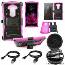 Phone Case Gladiator Shield Holster Kickstand Cover Pink For LG G Flex 2 +Combo