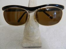 VINTAGE OPTICAL AFFAIRS G8337619/4 SUNGLASSES Black & GOLD OVAL Awesome Classic