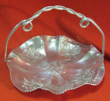 New listing Vintage Aluminum Basket with Floral Design and Twisted Handle