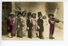 """""""Play Marriage"""" Cute Children Dressed Up for Wedding RPPC Top Hats Violin 1910s"""