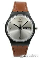 New Swatch Lonely Desert Brown Genuine Leather Day/Date Watch 42mm SUOB721 $75