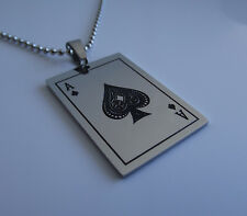 ACE of SPADES NECKLACE Playing Card Pendant Poker Black Jack Biker Rocker Gothic