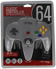 Retro-Bit Nintendo 64 Classic USB Enabled Controller (Wired) PC and MAC, Grey