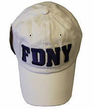 FDNY BASEBALL HAT BALL CAP KHAKI NATURAL FIRE DEPARTMENT NEW YORK  BADGE MENS