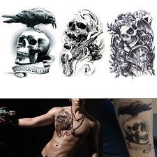 Étanche 3 Pièces Tatouages Temporaires Crâne Grand Bras Faux Transfert Stickers