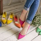 Solid Color Simple Pointed-toe Low Mid Heel Women's Work Court Shoes Flat Pumps