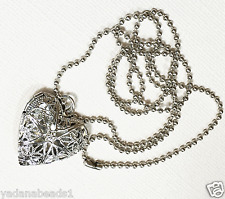 Antique silver filigree  heart locket with iron ball chain