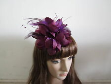 Dark Purple Wedding Feather Hair Fascinator Clip Corsage Brooch Pin Fascinators