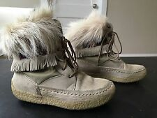 Tecnica Italy White Fur Polar Winter Boots Size 41/9 US White Tan