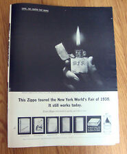 1963 ZIPPO Lighter Ad  Dorothy Roberts New York World's Fair of 1939