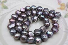 BR219G 9-10 mm Zuchtperlen Strang Süßwasser Perle Schmuck Kette Halskette barock
