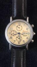 Stauer Mens Diver Wristwatch Date & Day 30M Round Black Band